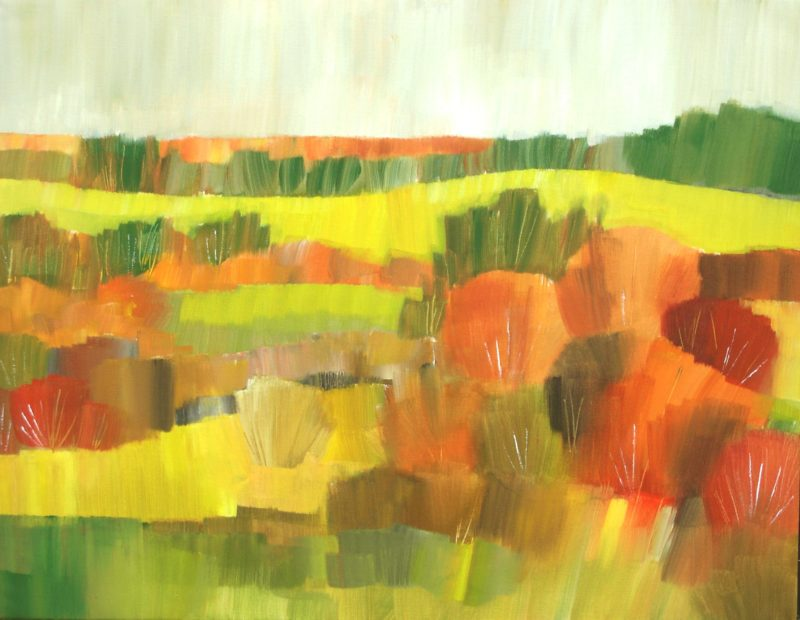 Autumnal landscape painted in oranges and browns