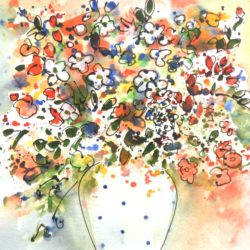 Abstract flowers in spotty vase