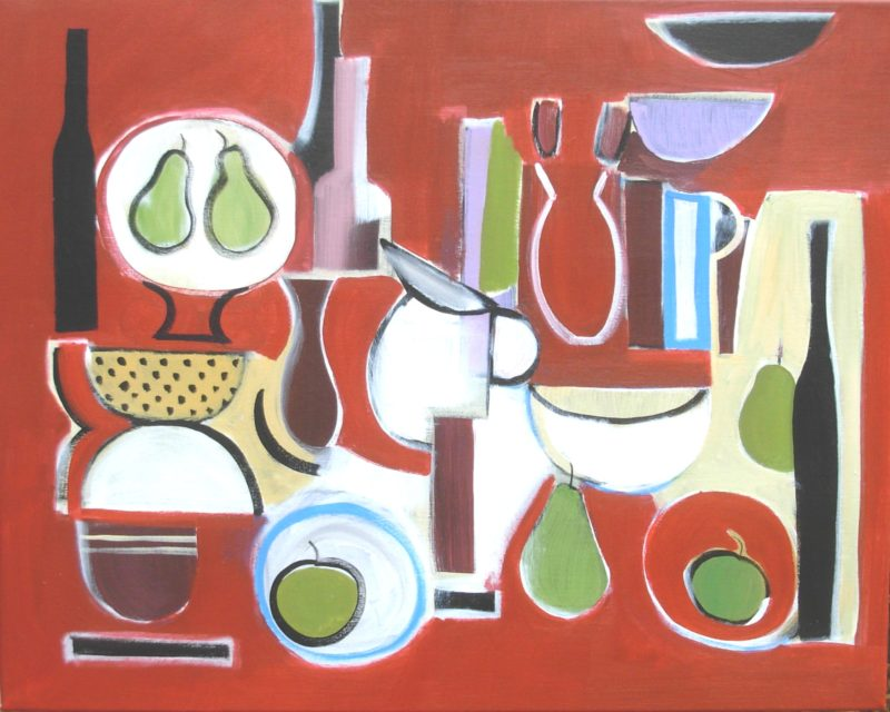 Red abstract still life with bottles, flowers and pears