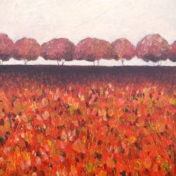 Textured autumnal landscape painting with trees