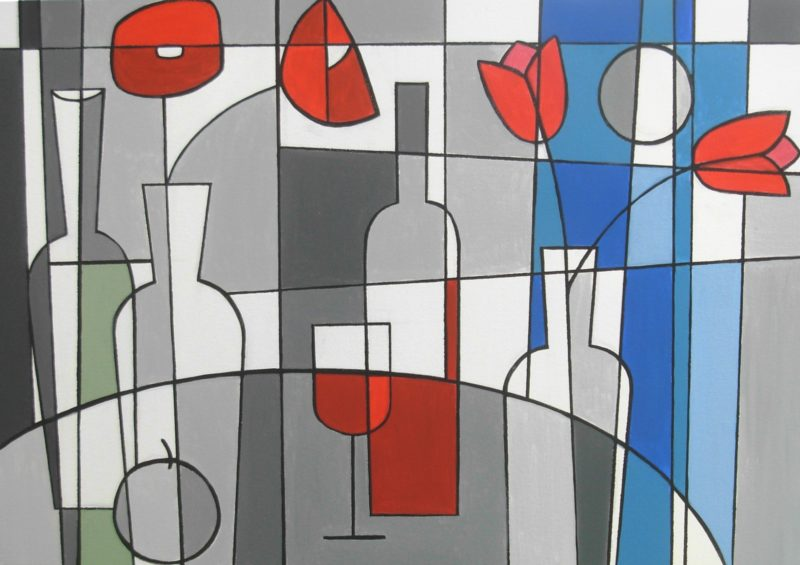 Still life art in Rennie Macintosh style with tulips and wine