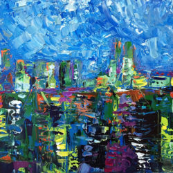Dockyard Blues, original, abstract, acrylic, modern painting of the port of Malaga in Spain by Adriana Dziuba