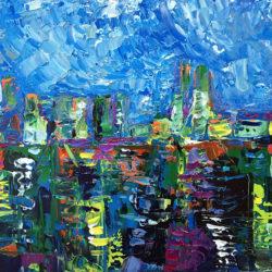 Dockyard Blues, original, abstract, acrylic, modern painting of the port of Malaga in Spain by Adriana Dziuba