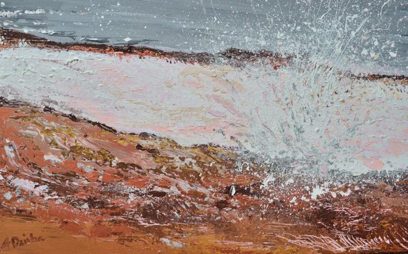 Breaking Waves #1, original, seascape, abstract, acrylic, modern painting of breaking waves, ocean painting by Adriana Dziuba
