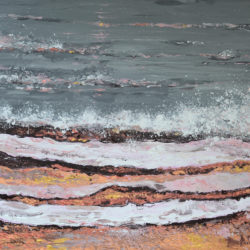 Breaking Waves #3, original, seascape, abstract, acrylic, modern painting of breaking waves, ocean painting by Adriana Dziuba