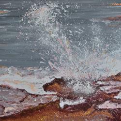 Breaking Waves #2,original, seascape, abstract, acrylic, modern painting of breaking waves, ocean painting by Adriana Dziuba