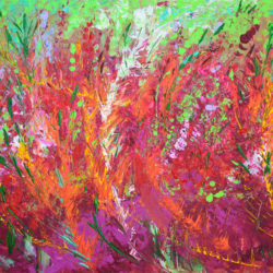 Fiery Meadow, original, abstract, acrylic, modern painting of a spring time meadow in full bloom with wild flowers by Adriana Dziuba