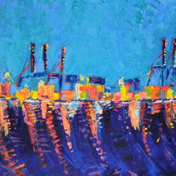 Port of Malaga, original, abstract, acrylic, modern painting of the port of Malaga at night by Adriana Dziuba