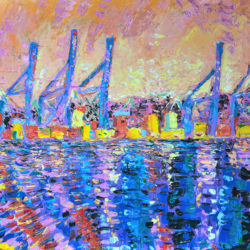 Sunset Over Port Of Malaga, original, abstract, acrylic, modern painting of the port of Malaga in Spain at Sunset by Adriana Dziuba