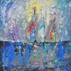 Three Sailboats – original, abstract, acrylic, modern painting of three sailboats by Adriana Dziuba
