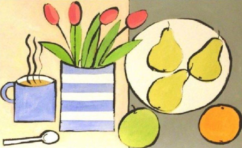Tulips, apple, pears, orange and coffee art