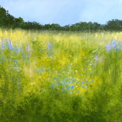 Painting of Surrey meadow with blue flowers