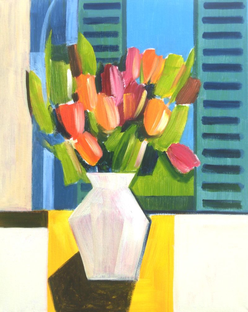 Still life art of vase of tulips in front of blue shutters