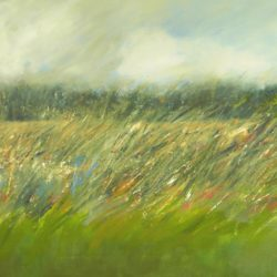 Textured painting of a hedgerow with cloudy sky