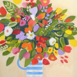 summer bouquet of flowers in a cornishware jug