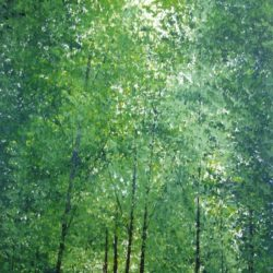 dappled sunlight in St James' Park in acrylic paints
