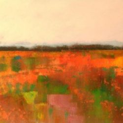 painted field in reds, greens and oranges
