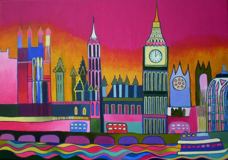 london painting of river thames and parliament