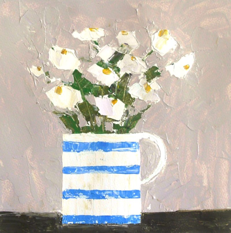 white flowers in a Cornishware jug painted in textured style