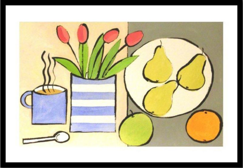 still life painting with tulips fruit and coffee