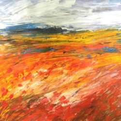 textured abstract landscape painting with poppies