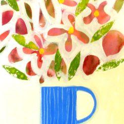 flowers in blue striped jug