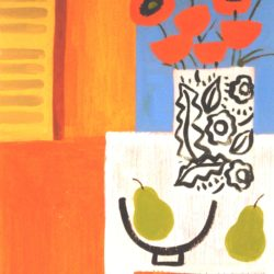 still life art with red poppies and pears