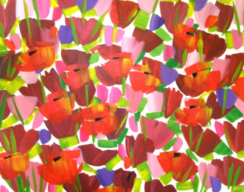 summer flowers painted in acrylics