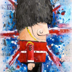 queen's soldier with union jack painting