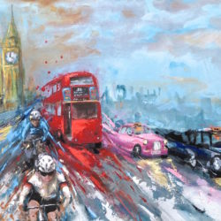 london painting with red bus