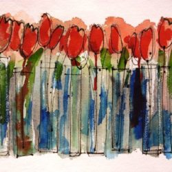 Red Tulips in vases painting