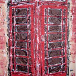 red telephone box painting