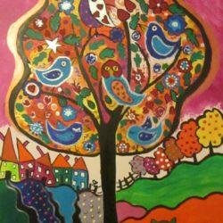 Bird Tree, quirky bird tree painting