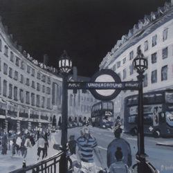 regent's street black and white painting
