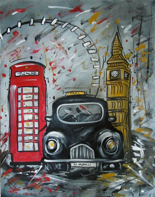 london cityscape painting with black cab