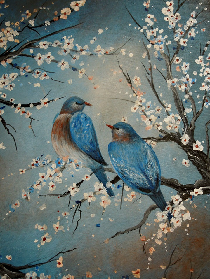 Original painting, floral, birds, blossoms, acrylic painting