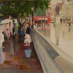 rainy trafalgar square painting