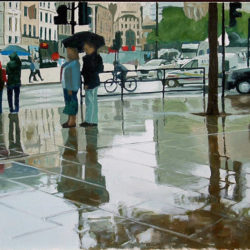 trafalgar square in the rain painting