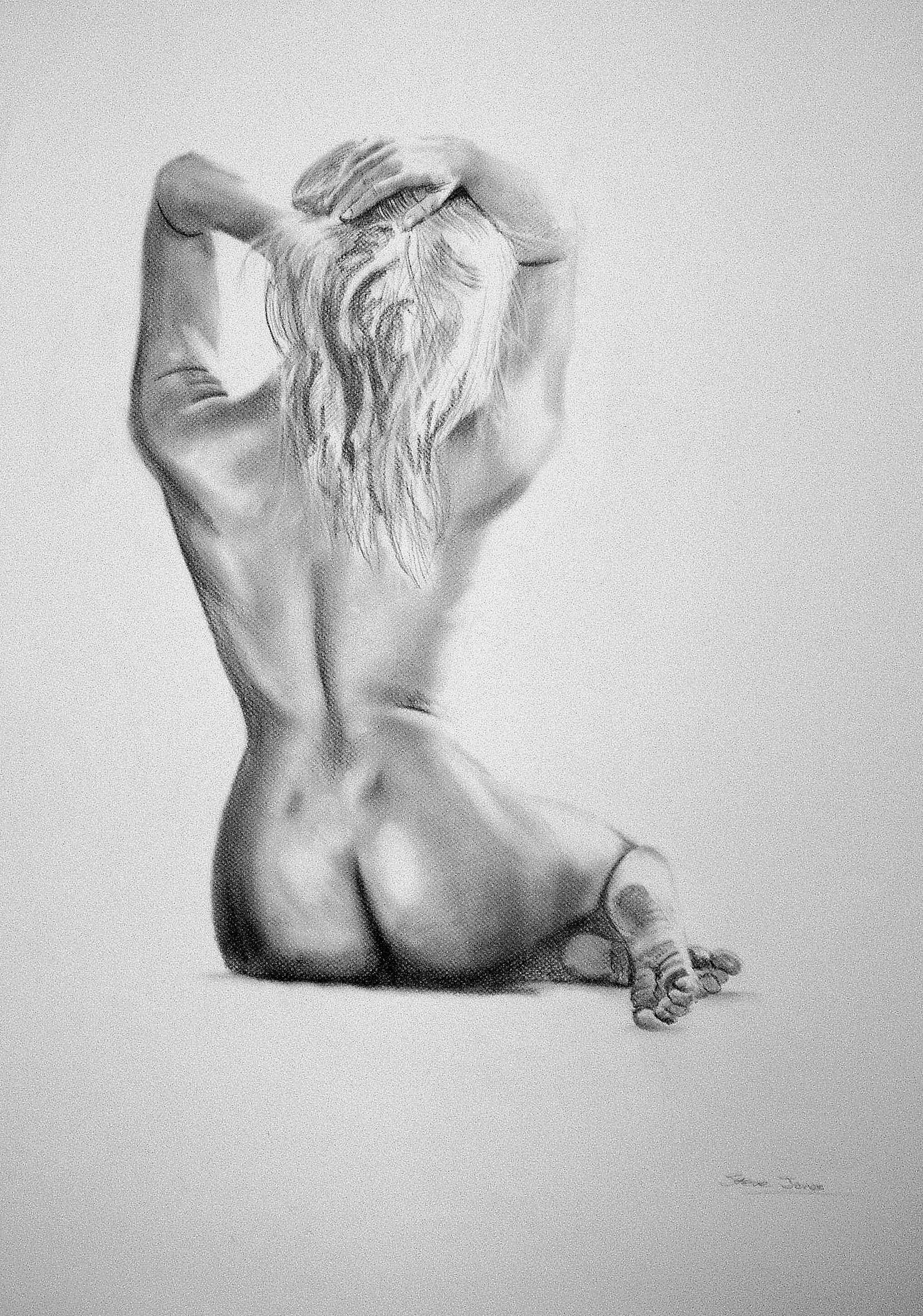 Art boudoir custom drawing fine nude pencil portrait