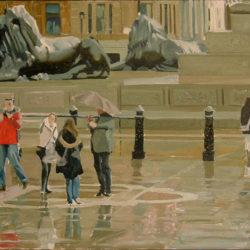 painting of lions in trafalgar square