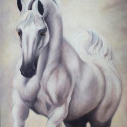 Arabian stallion oil painting based on El Nabila B