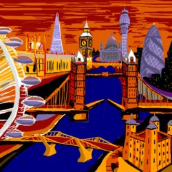 london cityscape painting in bold colours