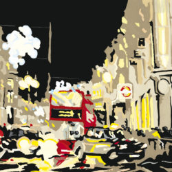 panoramic painting of oxford circus