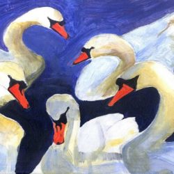 painting of swans in acrylics