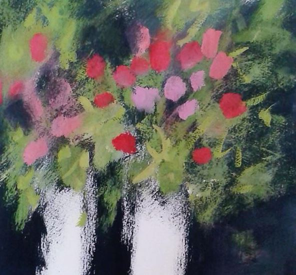 summer floral painting red and pink