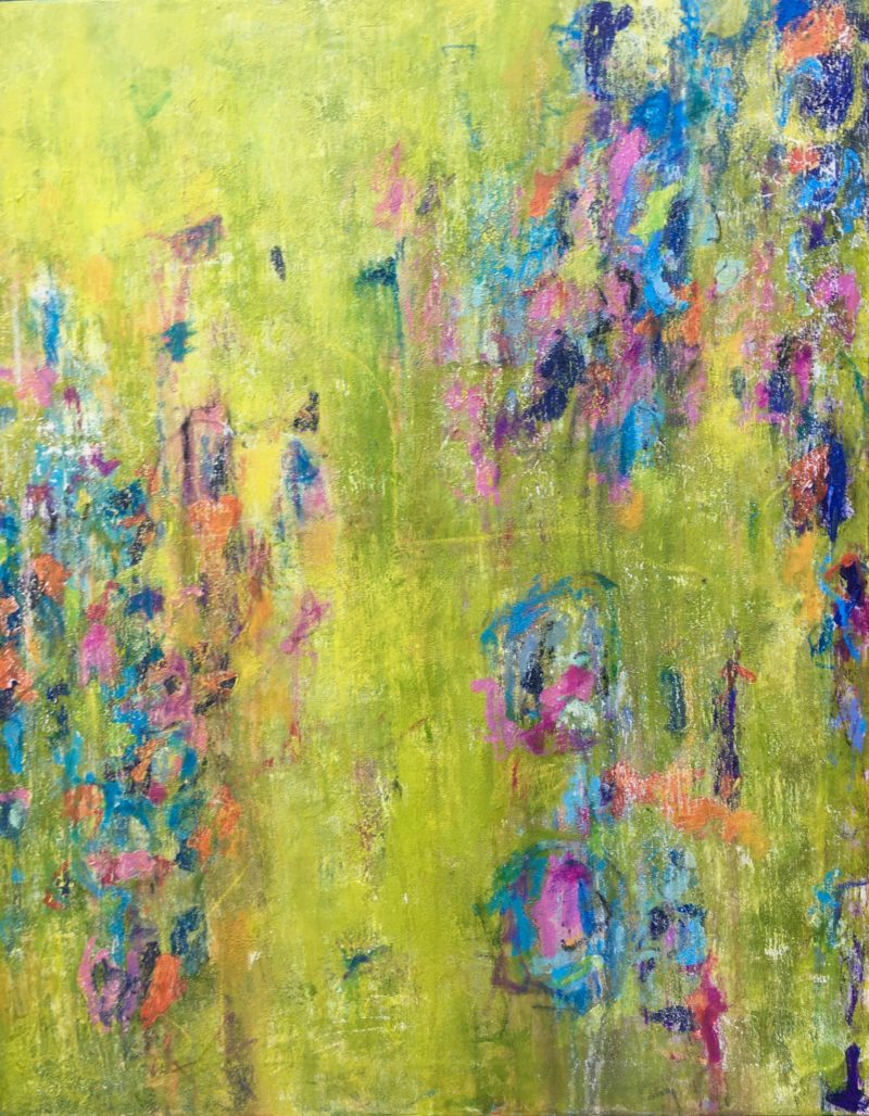 LARGE COLOURFUL ABSTRACT GARDEN PAINTING ON CANVAS READY TO HANG