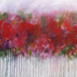 english country arden original painting semi abstract meadow garden painting