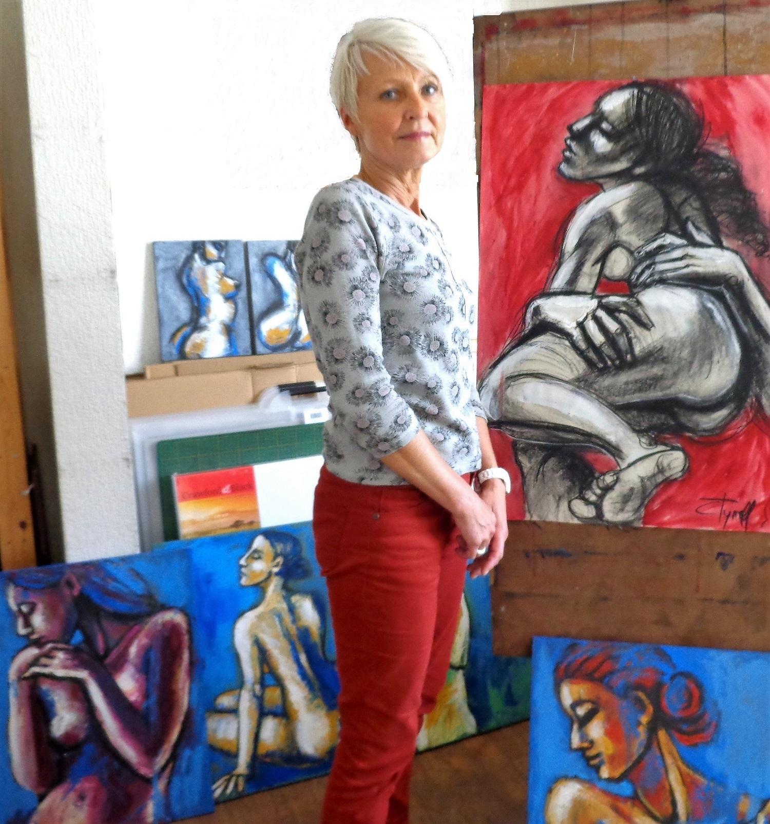 Carmen Tyrrell with artwork
