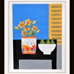 Daffodils in a clarice cliff vase original painting in the Naive style