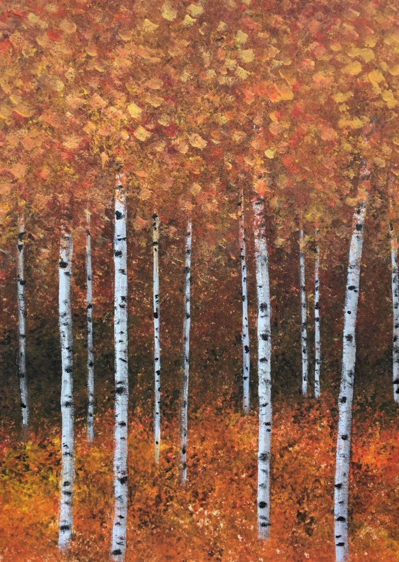 autumnal silver birch trees painting